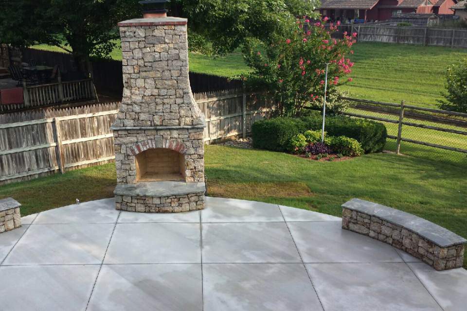 Fireplace on concrete