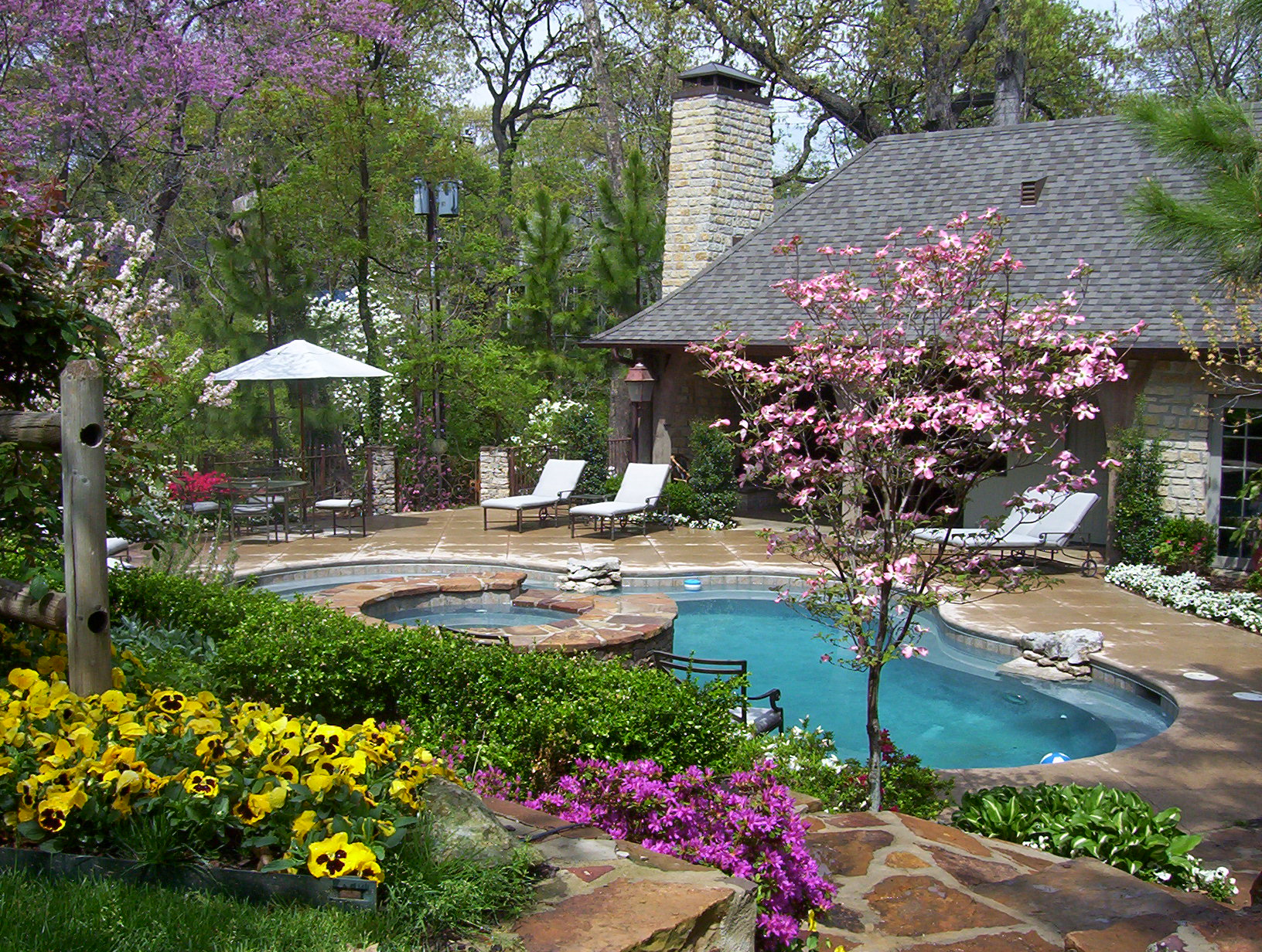 Colorful Backyard With Pool